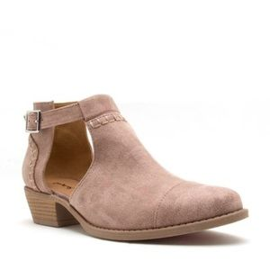 Shoes - Size 6 left! Warm Taupe Open Buckle Booties